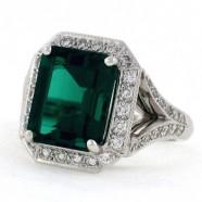 Emerald Cut Emerald Ring in Diamonds
