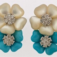 Mother of Pearl Turquoise and Diamonds Earrings
